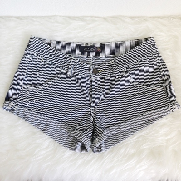 LEVI'S Blue and White Stripe Cuffed Jean Shorts